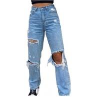 Damen High Waist Hole Jeans Lässige einfarbige Hose Elastic Loose Straight Pants mit Knopf und Tasche Bekleidung