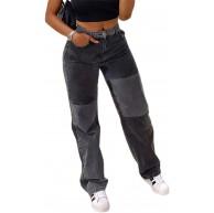 Damen mit weitem Bein hoch taillierte Jeans mit Herzdruck Y2k-Taschen Straight Flare-Farbstoff-Jeanshosen lose Streetwear-Jeans Patchworkhosen Distressed-Jeanshosen Bekleidung