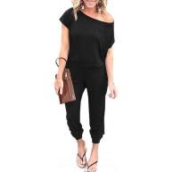 Angashion Damen-Jumpsuits – Rundhalsausschnitt schulterfrei kurze Ärmel elastische Taille Overall mit Taschen - Schwarz - Medium Bekleidung
