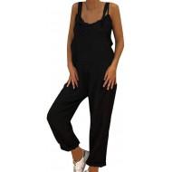 Damen Frauen Retro Latzhose Lässig Insgesamt Baggy Jumpsuits Morbuy Leinen Taschen Playsuit Hose Lange Harem Casual Overalls Täglichen Trousers Pants Bekleidung