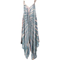 GURU SHOP Batik Jumpsuit Sommer Overall Hosenkleid Damen Aqua Synthetisch Size40 Lange Hosen Alternative Bekleidung Bekleidung