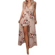 OYSOHE Damen Jumpsuit Sommer V-Ausschnitt Ärmellos Blume Party Overall Kleid Playsuit Strandhose Bekleidung