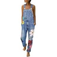Tomwell Jeanslatzhose Damen Latzhose Jeans Hose Vintage Loose fit Jumpsuit Overall Blumen Denim Playsuit Romper Bekleidung