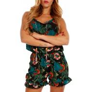 YC Fashion & Style Damen Jumpsuit Short Strandoverall Volants Freizeit oder Party FarbeSchwarz GrößeOne Size 34 36 38 Bekleidung