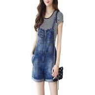 Damen Lätzchen Insgesamt Shorts Jeans Hohe Taille Lightweight Casual Walkshort Dungareses Overall Bekleidung