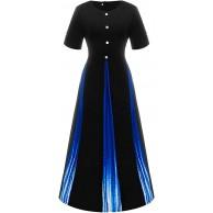 DQANIU Frauen-Partykleid Damenmode Farbabstimmung gedruckt Farbverlaufsknopf Rundhals Halbarm Kleid Elegante Damen böhmischen schlank langes Kleid Bekleidung