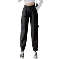 Hotseroe Damen Übergröße elastische Beinöffnungen leicht zu passen elastischer Taillen-Overall mit Taschen. Bekleidung