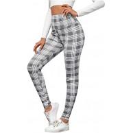 OYSOHE Damen Beiläufig Sport Yoga Leggings Mode High Waist Sporthose Frauen Plaid Print Activewear Joggerhose Bekleidung