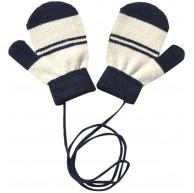 YXIU Kinder Handschuhe mit Schnur Fäustlinge Fausthandschuhe Weihnachtshandschuhe Gestreift Warm Strickhandschuh für 1-4 Jahre alt Baby Marine Bekleidung