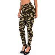 ESRA Damen Leggings Military Legins Hose in Camouflage Army Style L12 Bekleidung