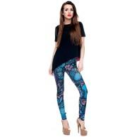 Hanessa Frauen Leggins Bedruckte Leggings Hose Frühling Sommer Kleidung Blaue Eulen Eule bei Nacht L108 Bekleidung