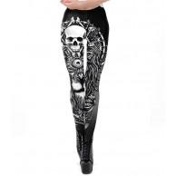 MGGR.O Schädel Design Punk Frauen Legging Gothic Style Löwe Retro Vintage Steampunk Leggins Ankle Pants Bekleidung
