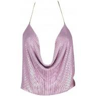 CuteRose Women's Tops Halter Sequin Open Back Spaghetti Straps Tank Top Pink OS Bekleidung