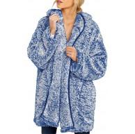 DENGZI Kapuzenjacke Jacke Mantel Damen Fuzzy Öffnen Front Outwear mit Tasche Bekleidung