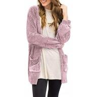 MRULIC Damen Langarm Jacken Strickjacke Strickpullover Soft Velvet Chenille Cardigans mit Taschen Warm und Bequem Bekleidung
