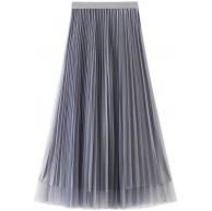 Carolilly Langer Tüllrock für Damen Schmetterlingskleid mit hoher Taille elastisch lässig. Grau One size Bekleidung
