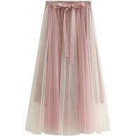 FEOYA Damen Tüll Rock Zweifarbiger Pliseerock Vintage Petticoat Lang Midi-Rock Elastischer Bund Unterrock mit Gürtel - Mehrfarbig 2 Bekleidung