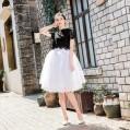 FEOYA Damen Tüllrock 6 Lagen Prinzessin Ballettrock Unterrock Knielang Petticoat Tutu Rock mit Gürtel Bekleidung