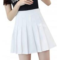 MOMBIY Frauen Mädchen Kurze hohe Taille gefaltete Skater Tennis Schule Rock Junger Rock in Reiner Farbe Faltenrock Bekleidung