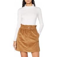 Noisy may Damen NMJUDO HW Paperbag Corduroy Skirt BG S Rock Toasted Coconut XL Bekleidung