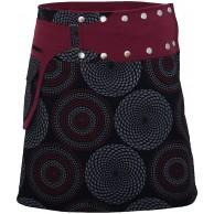 PUREWONDER Damen Wickelrock Baumwolle Rock mit Tasche sk172 Schwarz Einheitsgröße verstellbar Bekleidung
