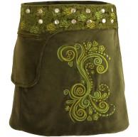 PUREWONDER Damen Wickelrock Samt-Rock Winterrock sk236 Grün Einheitsgröße verstellbar Bekleidung