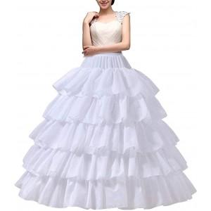 YULUOSHA Damen Reifrock Petticoat Unterrock Petticoat Krinoline Lang 4 Ring 5 Flouncing für Hochzeit Party Weiß Bekleidung