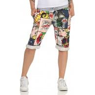 CLEOSTYLE Kurze Damen Bermuda leichte luftige Hose für den Sommer kurzer Jogger für Freizeit und Strand 9 Weiß Bunt Bekleidung