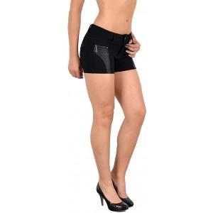 ESRA Damen Hotpants Damenshorts Leder Optik Hot - Pants Damen Shorts Kurze Hose H35 Bekleidung
