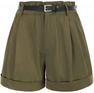GRACE KARIN Damen Shorts High Waist Sommer Kurze Hose Rüsche elastische Taille mit Gürtel CL0154S21 Bekleidung
