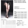 Punk Rave Gothic Frauen Rock Hot Shorts Heavy Metal Kette Jeans Cotton Short Pants XL Bekleidung