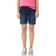 s.Oliver Damen Smart Short Jeans mit Knopfleiste Dark Blue Denim 40 Bekleidung