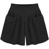 YEBIRAL Große Größe Damen Locker Shorts Elastischer Bund Casual Sommerhose Sommer Einfarbig Kurze Hose Bekleidung