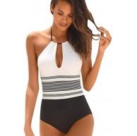 Damen Badeanzug Sexy Rückenfrei Push up Gestreift Neckholder Träger Schlüsselloch Einteiler Bademode Mode Elastisch High Waist Tailliert Monokini Strand Bikini für Frauen Bekleidung