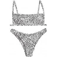 ZAFUL Damen Spaghetti-Träger V-Wired Leopard Hihg Cut Bikini Set Badeanzug Bekleidung