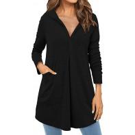 ABYOXI Damen Langarm Lose Hoodies Kapuzenpullover Split V Ausschnitt Asymmetrischer Sweatshirts Tuniken Oberteile Bekleidung