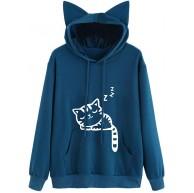 MIRRAY Damen Katze Print Langarm Hoodie Sweatshirt mit Kapuze Pullover Tasche Tops Bluse Bekleidung