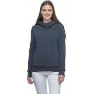 Ragwear TANPY Damen Streetwear Sweatshirt Kapuzenpullover Hoodie Stehkragen vegan Muster Navy XS Bekleidung