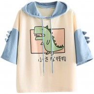 Ronony Damen Teenager Mädchen Bunt Kurzarm Hoodie Pullover mit Kapuze Sweatjacke Hoodie Sweatshirtjacke Kawaii Cartoon Pullover Oberteile Outdoor Casual Sweatshirt Tops Dinosaurier Kapuzenpullover Bekleidung