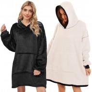 UMIPUBO Oversized Hoodie Sweatshirt Blanket TV Decke Kapuzenpullover Kombination aus Flausch-Pullover und Kuscheldecke mit Großer Fronttasche für Männer Frauen Schwarz Bekleidung
