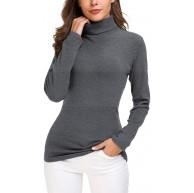 EXCHIC Damen Basic Langarm Slim Fit Rollkragen Sweatshirt Bekleidung