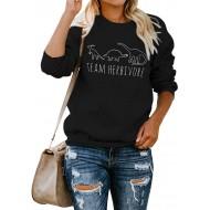 YUHX Team Herbivore Dinosaurier Sweatshirt Damen Grafik Tierdruck Langarm Rundkragen Pullover Oberteile Bluse Tops Kurzarm T-Shirts Bekleidung