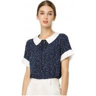 Allegra K Damen Kurzarm Bubikragen Panel Polka Dots Top Bluse Bekleidung
