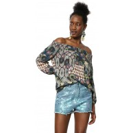 Desigual Damen Blouse Short Sleeve Melina Woman Multicolour Bluse Bekleidung