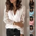 Onsoyours Damen Blusen Frühling Spitze Einfarbig Langarmshirt Elegant V Ausschnitt Tuniken Lose Casual Oberteile Hemd T-Shirt Spitzenärmel Tops Bekleidung