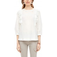 Q S designed by - s.Oliver Damen Bluse mit Broderie Anglaise Q S designed by Bekleidung