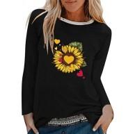 Damen T-Shirt Langarm Rundhals Sonnenblume Muster Sweatshirt Outdoor Mode Casual elegant Streetwear Bequemer Frühling und Herbst Neu Winter Bottoming Shirt Bekleidung