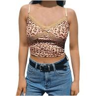 DeaAmyline Tank Top Damen Ärmellos T Shirt Sexy Leoparden Spitze Crop Top Weste Shirts Tanktop Basic Trägershirt Camisole Bekleidung
