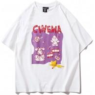DREAMING-Sommer Kurzarm Sweatshirt Lose Print Rundhalsausschnitt Baumwolle T-Shirt Top Herren- Und Damenpaarhemd Bekleidung