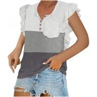 DXDE Sommer Kleidung Damen Damen T-Shirt Kurzarm Blusen Shirt mit Allover-Minimal Print Lose Stretch Casual Oberteil Basic Tops Coole Klamotten Für Mädchen Damen T-Shirt mit Rundem Ausschnitt Bekleidung